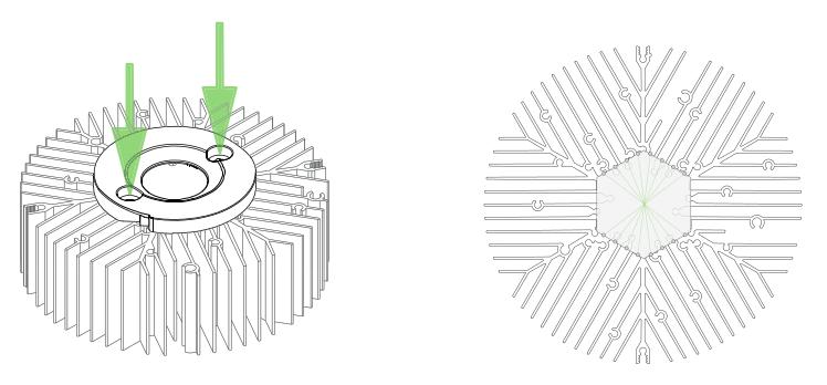 Centrální uchycení LED zdrojů